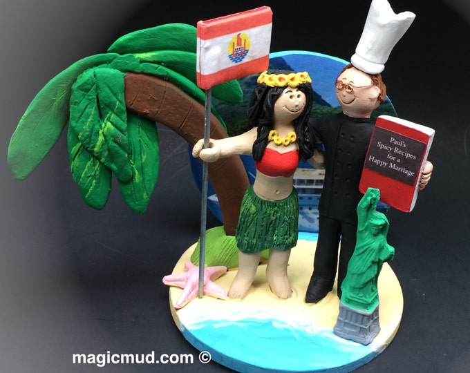 Tropical Island Wedding Cake Topper, Custom Made Chef Wedding Cake Topper, Palm Tree Beach Wedding Cake Topper, Hula Dancer Wedding Cake Top