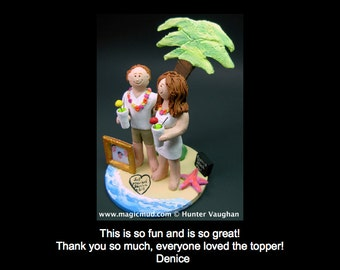 Hawaiian Wedding Cake Topper, Palm Tree Wedding Cake Topper, Tropical Destination Wedding Cake Topper, Honeymoon Trip Wedding Cake Topper