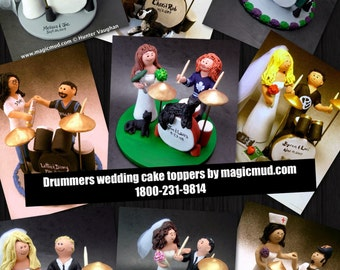 Drumming Groom Wedding Cake Topper, Custom Made Drummers Wedding Cake Topper, Drum Wedding Cake Topper, Wedding Cake Topper for a Drummer