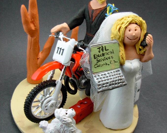 Honda Dirt Bike Wedding Cake Topper , Anniversary Gift for Honda Motorcycle Riders, Honda Dirt Biker's Wedding Anniversary Gift/Cake Topper.