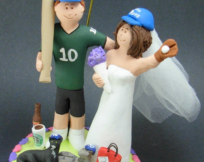 Shopping Diva Bride Marries Baseball Groom Wedding Cake Topper, Shopaholic's Wedding Anniversary Gift, Baseball Wedding Anniversary Gift