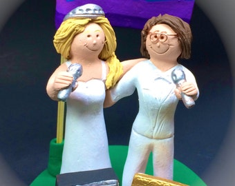 Gay Rainbow Flag Wedding Cake topper, Same Sex Wedding Cake Topper, Gay Wedding Figurine, Lesbian Wedding Cake Topper, Gay Womens CakeTopper