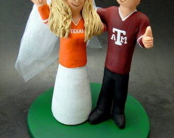 Texas Aggies A&M Football Wedding CakeTopper, Football Wedding Anniversary Gift/Cake Topper, NFL Football Wedding CakeTopper,NCAA Caketopper