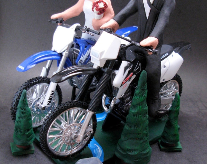 Suzuki Groom Wedding Cake Topper,Yamaha Bride Off Road Motorcycle Wedding Cake Topper, Anniversary Gift for Motorcycle Riders.