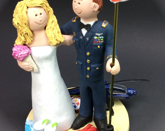 Blackhawk Helicopter Wedding Cake Topper, Pilot's Wedding Cake Topper, Air Force Pilot's Wedding Cake Topper, Old Glory Wedding Cake Topper
