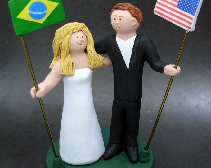 Brazilian Bride American Groom Wedding Cake Topper,International Marriage Wedding CakeTopper,Wedding CakeTopper with Country of Origin Flags