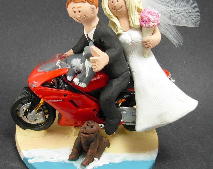 Ducati Sportbike Motorcycle Wedding Cake Topper, Motorcycle Wedding Cake Topper, Ducati Wedding Cake Topper, Bikers Wedding Cake Topper