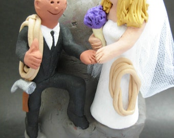 Mountain and Rock Climbers Wedding Cake Topper, Mountaineering Wedding Cake Topper, Mixed Race Wedding Cake Topper,Hikers Wedding CakeTopper