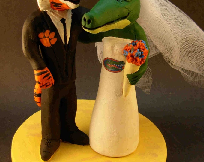 Clemson Tiger Groom Marries Florida Gator Bride, Alligator Bride Wedding Cake Topper, Clemson University Wedding Cake Topper