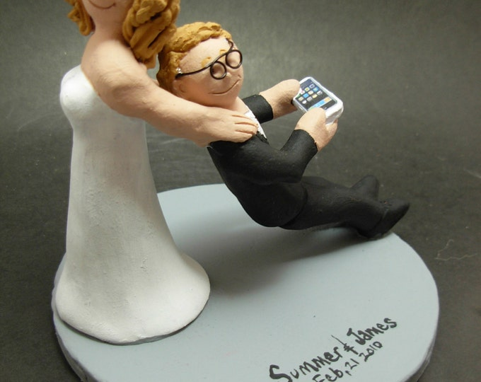 Bride Drag Groom with Iphone - Custom Made Nerd's Wedding Cake Topper, Tech's Wedding Cake Topper, Geek's Wedding Cake Topper
