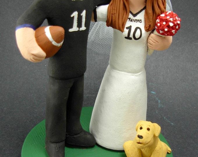 Baltimore Ravens Football Wedding Cake Topper, Baltimore Ravens Wedding Anniversary Gift, NFL Football Wedding Anniversary Gift/CakeTopper,