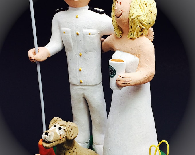 University of Kentucky Wedding Cake Topper - Custom Made Soldier's Wedding Cake Topper - Bride with Starbucks Wedding Cake Topper