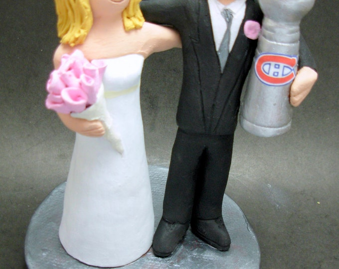 Montreal Canadians Hockey Wedding Cake Topper, Hockey Bride and Groom Wedding Cake Topper, Stanley Cup Wedding CakeTopper, Hockey Caketopper