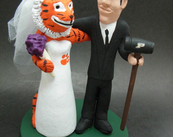 Purdue Football Wedding Cake Topper, Custom Made College Football Mascot Wedding Cake Topper