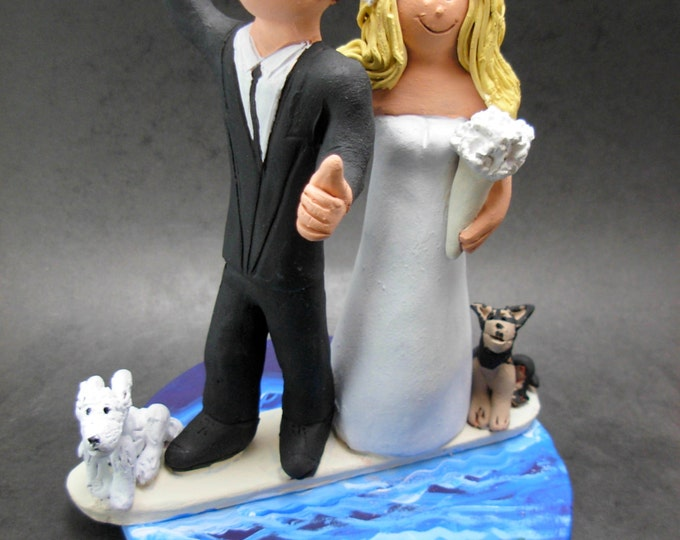 Surfer's Wedding Cake Topper - Bride and Groom on Surfboard Wedding Cake Topper, Pet Dogs Wedding Cake Topper, Surfing Wedding Cake Topper