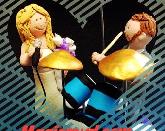 Wedding Cake Topper for a Drummer - Custom Made Percussionist Wedding Cake Topper - Drumming Wedding Cake Topper - Singing Bride Cake Topper