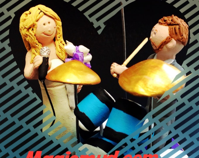 Wedding Cake Topper for a Drummer - Custom Made Percussionist Wedding Cake Topper - Drumming Wedding Cake Topper - Singing Bride Cake Topper