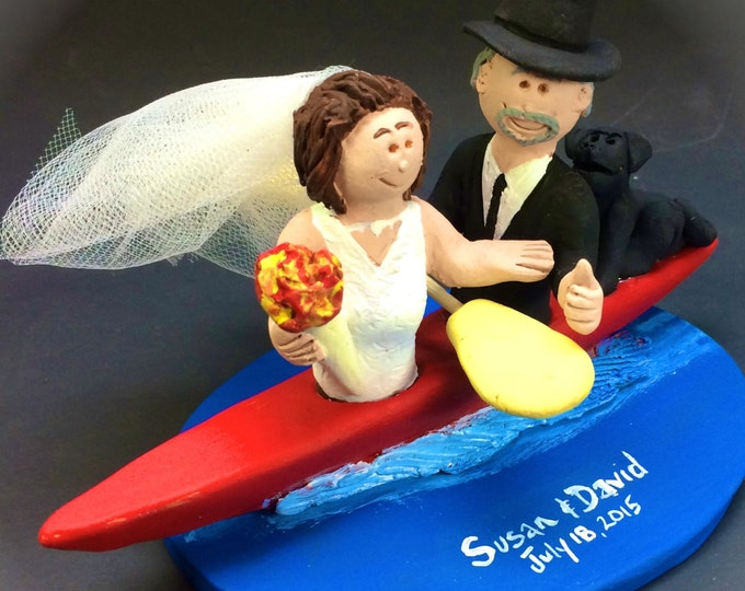 Bride and Groom Kayaking Wedding Cake Topper - Custom Made Kayak Wedding Cake Topper, Whitewater Kayak Wedding Cake Topper