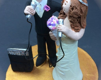 Bride and Groom with Microphones Wedding Cake Topper - Custom Made Singers Wedding Cake Topper, Singing Bride and Groom Wedding Cake Topper
