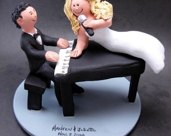 Singing Bride's Wedding Cake Topper, Piano Players Wedding Cake Topper, Lounge Singers Wedding Cake Topper, Singing Diva Wedding Cake Topper