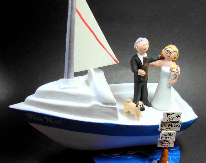 Boating Wedding Cake Topper - Yachting Wedding Cake Topper - Sailboat Wedding Cake Topper - Bride and Groom in Boat Wedding Cake Topper