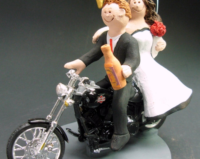 Couple on Harley Davidson Sportster Wedding Cake Topper, Bikers Wedding Anniversary Gift, CakeTopper for Motorcycle Bride