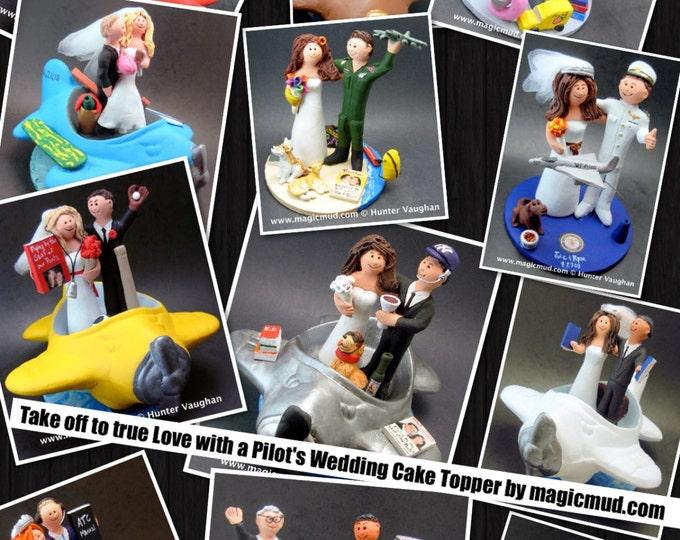 Pilot's Wedding Cake Topper - Custom Made Airline Wedding Cake Topper - Airplane Wedding Cake Topper - Air Force Pilot Wedding Cake Topper