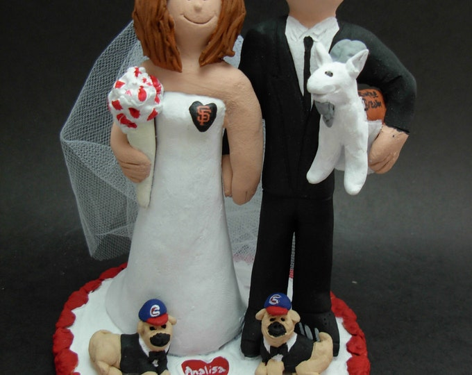 Wedding Cake Topper with Pet Pug Dogs, Pug Dogs Wedding Cake Topper, Pet Dog Wedding CakeTopper, Bride and Groom Pet Dogs Wedding CakeTopper
