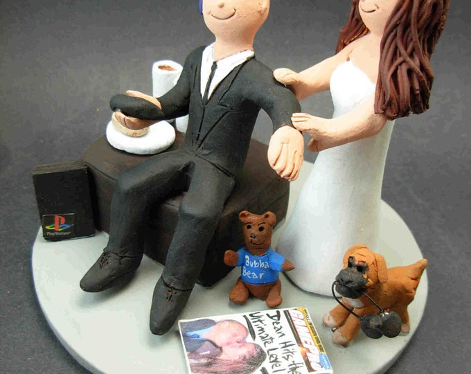 "Video Gamer Groom Wedding Cake Topper - Bride Drag Video Gameing Groom Wedding Cake Topper, ""Addicted to Gaming Apps"" Wedding Cake Topper"