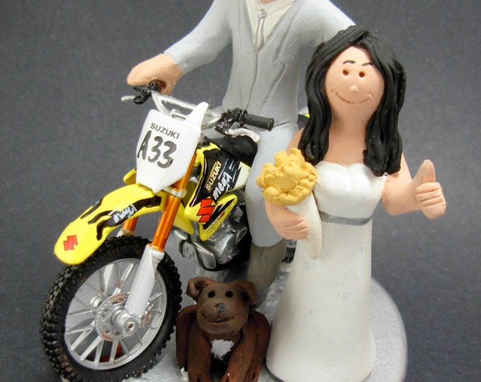 Off Road Suzuki Motorcycle Wedding Cake Topper, Anniversary Gift for Motorcycle Riders, Suzuki Motorcycle Wedding Anniversary Gift.