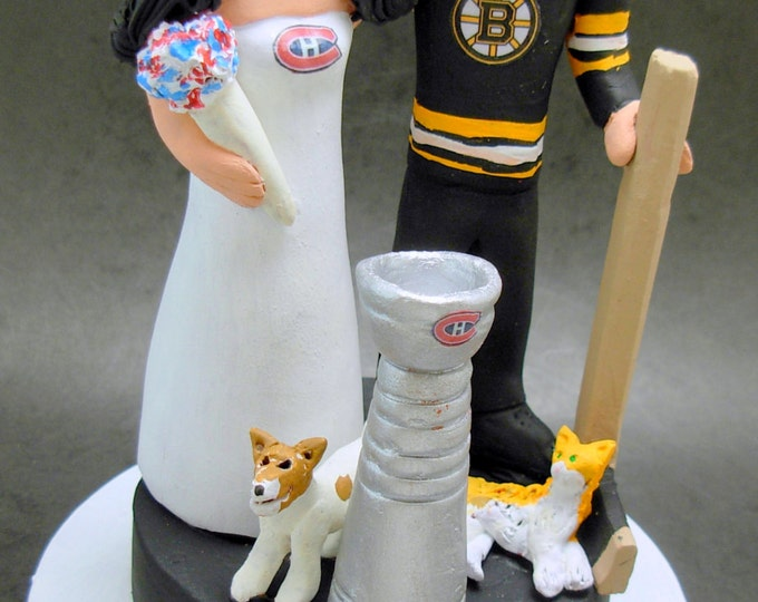 Boston Bruins Groom Wedding Cake Topper, Montreal Canadians Bride Wedding Cake Topper, Hockey Wedding Anniversary Gift custom made to order
