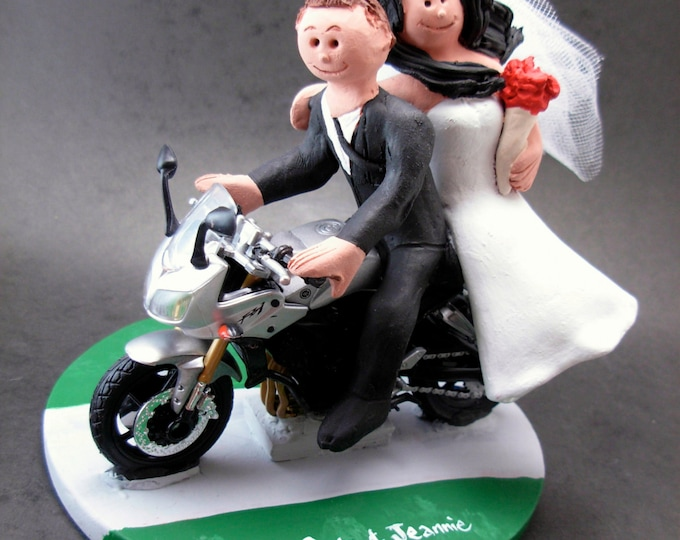 Yamaha Sportbike Motorcycle Wedding Cake Topper,  Motorcycle Wedding Cake Topper, Motorcycle Riders Wedding Cake Topper, Bikers Wed Figurine