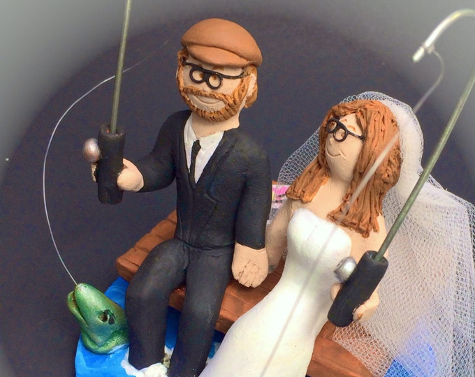 Bride and Groom Fish Off Dock Wedding Cake Topper - Fishing Wedding Cake Topper, At The Cottage Dock Wedding Cake Topper Custom Made