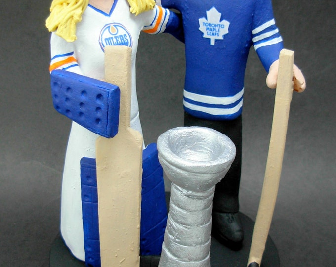 Goalie Bride Hockey Wedding Cake Topper, Edmonton Oilers Wedding Cake Topper, Edmonton Oilers Anniversary Gift, Hockey Marriage Figurine