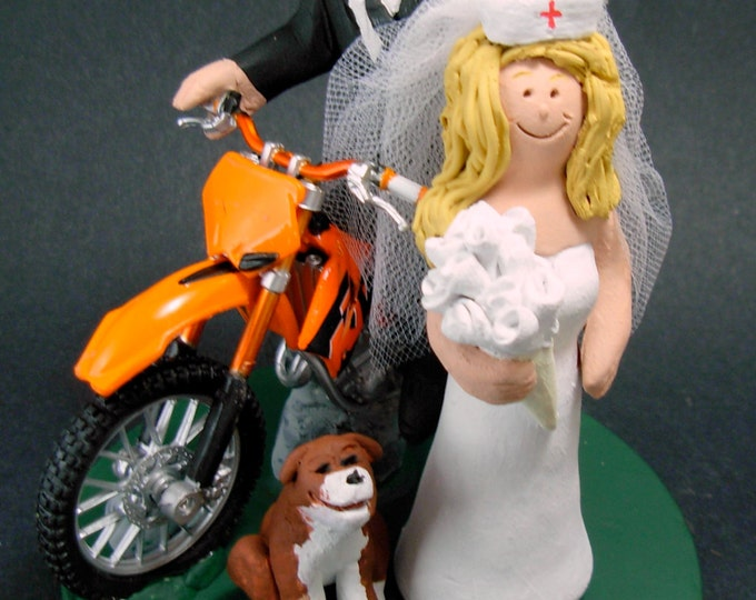 Nurse Bride and Off Road Motorcycle Groom Wedding Cake Topper, Anniversary Gift for Motorcycle Riders, Nurse's Wedding Anniversary Gift.