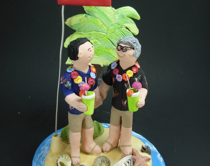Gay's Beach Wedding Cake Topper , Gay Wedding Cake Topper, Caketopper for 2 Men, Two Grooms Caketopper, Gays Wedding Cake Topper