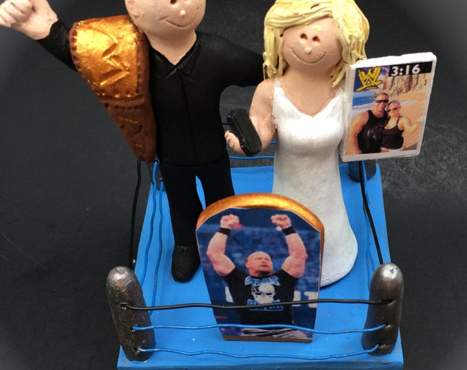 Wedding Cake Topper for a Wrestling Fan - Pro Wrestling Wedding Cake Topper - WWE Wedding Cake Topper - WWF Wedding Cake Topper