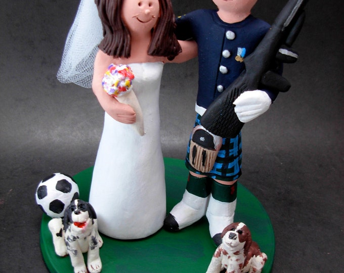 Soldier in Kilt and Uniform Wedding Cake Topper, Husband in Kilt Wedding Anniversary Gift/Cake Topper, Kilt Wedding Anniversary CakeTopper,