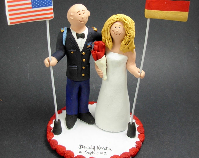 German Bride American Army Groom Wedding Cake Topper, International Marriage Wedding Cake Topper, Wedding CakeTopper with Country Flags