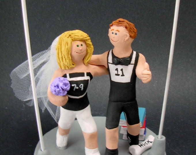 Triathlon Wedding Cake Topper, Marathon Runners Wedding Cake Topper, Joggers Wedding Cake Topper, Athletes Wedding Cake Topper, Jog Cake Top