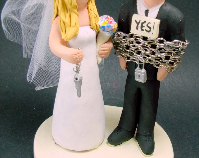 Bride Captures Groom Custom Made Wedding Cake Topper, Captured Groom Wedding Cake Topper, Chained Groom Wedding Cake Topper