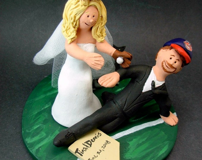 Baseball Bride at Homeplate Wedding Cake Topper, Cleveland Indians Wedding Anniversary Gift, Cleveland Indians Baseball Anniversary Gift