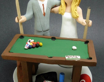 Billiard or Pool Players Wedding Cake Topper- custom made to order wedding cake topper- Bride and Groom with Pool Cue sticks caketopper