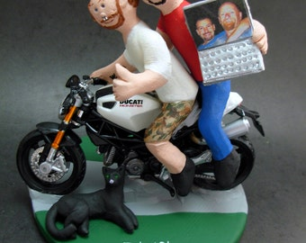 Gay Motorcyclist Wedding Cake Toppers custom made for same sex weddings!...handmade to order to your specifications. Gay Wedding Cake Topper
