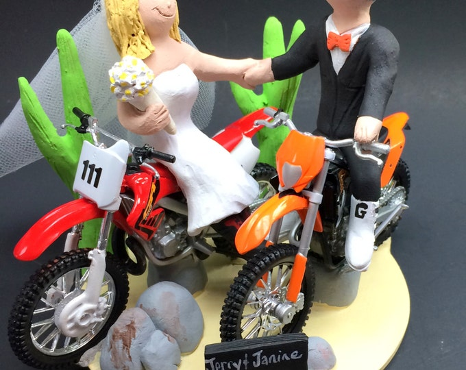 Desert Dirt Bikers Wedding Cake Topper, KTM Motorcycle Wedding Cake Topper, Honda Dirt Bike Wedding Cake Topper, Bikers Wedding Cake Topper