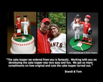 Personalized Baseball Wedding Cake Topper - NY Giants Wedding Cake Topper - Chicago Cubs Wedding Cake Topper - Bride Baseball Cake Topper