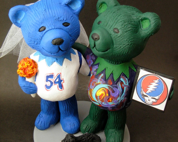 Tie Dye Jerry Bears Wedding Cake Topper, Custom Made Grateful Dead Dancing Bears Wedding Cake Topper, Jerry Bear Wedding Cake Topper