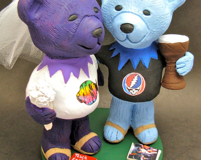 Phish Bride DeadHead Groom Wedding Cake Topper, Custom Made Grateful Dead Dancing Bears Wedding Cake Topper, Jerry Bear Wedding Cake Topper