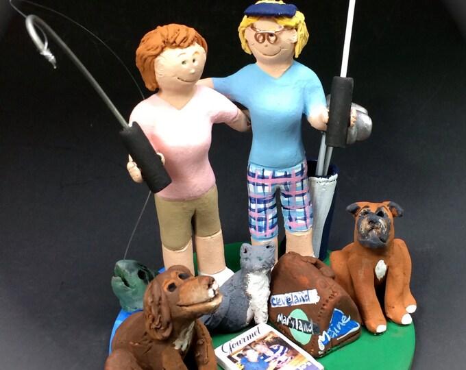 Gay Women Golfer's Wedding Caketopper, Lesbian Wedding CakeTopper, Gay Wedding Figurine, Same Sex Wedding CakeTopper,CakeTopper for Lesbians