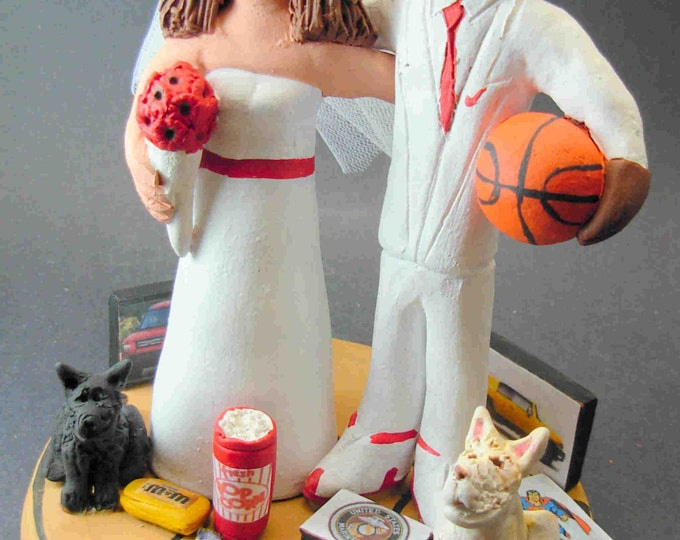 Biracial Wedding Cake Topper, White Bride Black Groom Wedding Cake Topper, Basketball Groom Wedding Cake Topper, Mixed Race Anniversary Gift